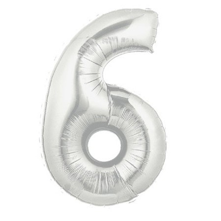 Number 6 Silver<br> Balloon