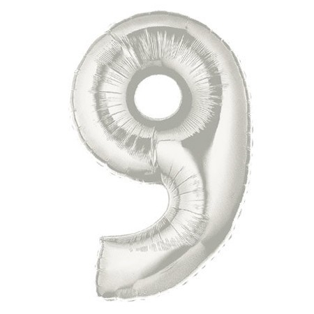 Number 9 Silver<br> Balloon