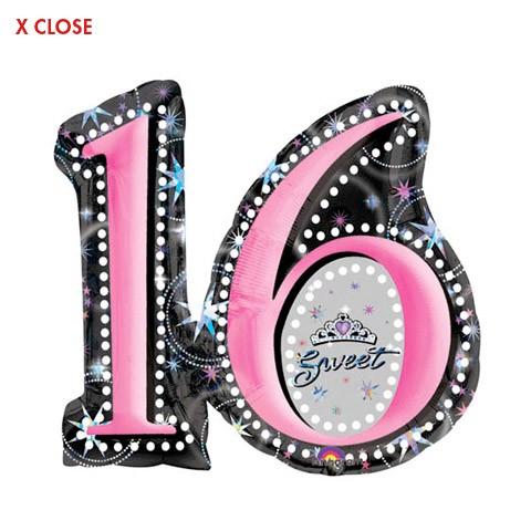 Number 16 Shape<br> Sweet 16 Balloon