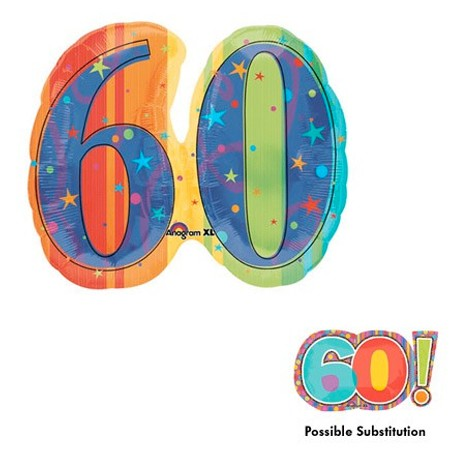 Number 60 Shape<br> Colorful Balloon(See Substitution Info)