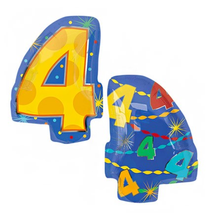 Number 4 Jr Shape Balloon