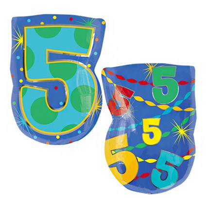 Number 5 Jr Shape<br> Balloon