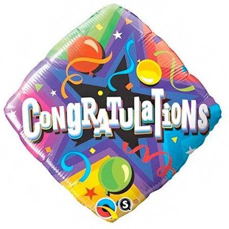 Congratulations Party Time18in Mylar Balloon