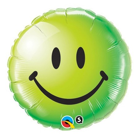 Smiley Face Green<br> Balloon