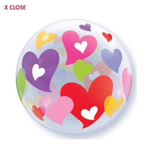 Colorful Hearts<br> Bubble Balloon