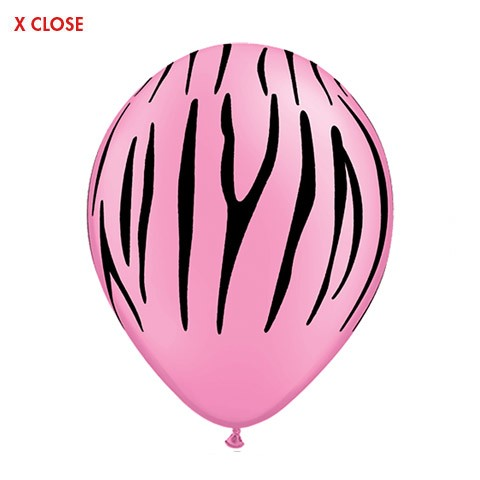 Zebra Stripes<br> Pink Balloon (Latex 11in w/Hi-Float)