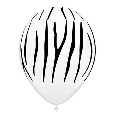 Zebra Stripes<br> White Balloon (Latex 11in w/Hi-Float)
