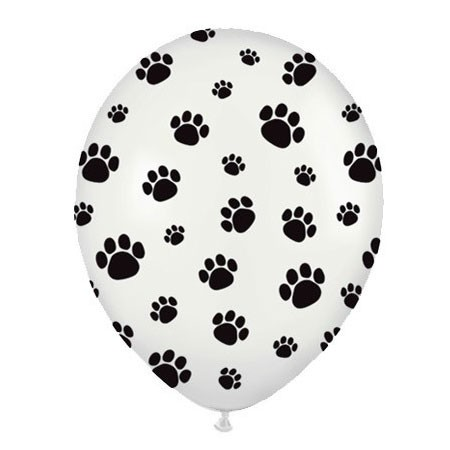 Paw Prints<br> Black/White Balloon (Latex 11in w/Hi-Float)