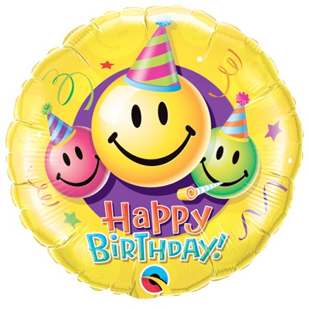 Smiley Faces<br> Birthday Balloon