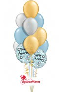 Soft Blue Celebration Anniversary Balloon Bouquet (12 Balloons) delivered in Mesa