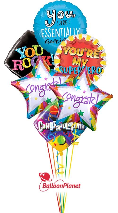 Congratulations balloon bouquet 6 balloons balloon delivery by balloonplanet com