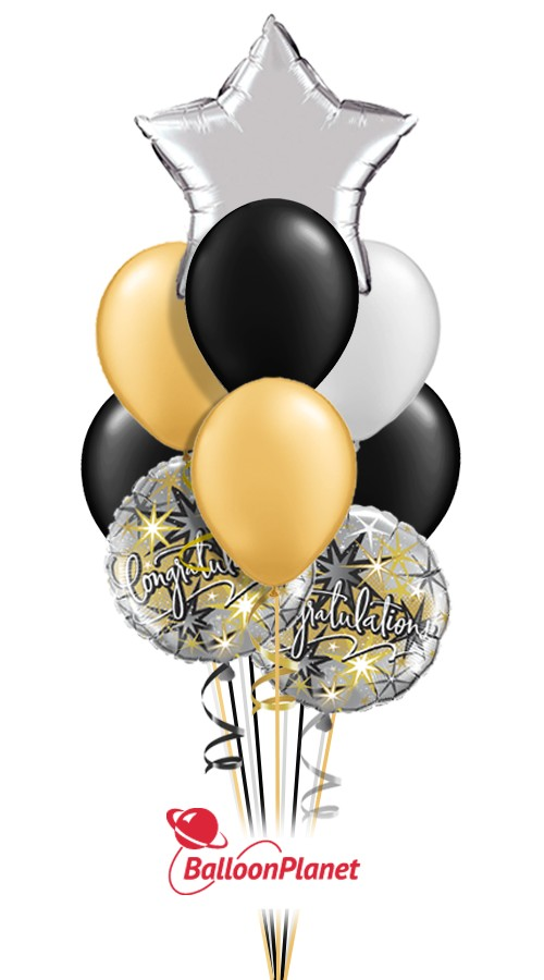 Elegant CongratulationsBalloon Bouquet (9 Balloons)