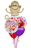 Love Monkey II Heart Theme Balloon Bouquet (6 Balloons) delivered in Irving