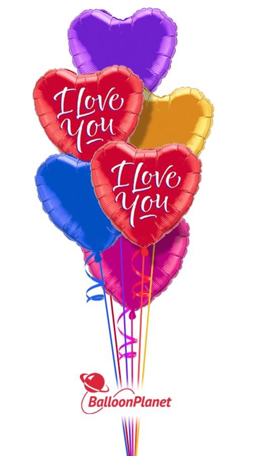 colorful hearts iii i love you balloon bouquet  7 balloons