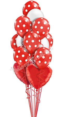 Polka Dots II Heart Theme Balloon Bouquet (16 Balloons)