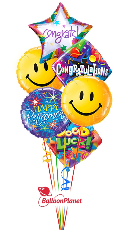 Smiling Faces Retirement Balloon Bouquet (6 Balloons)