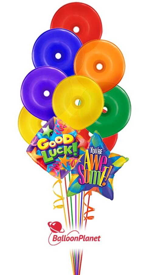 good luck lifesavers balloon bouquet  9 balloons