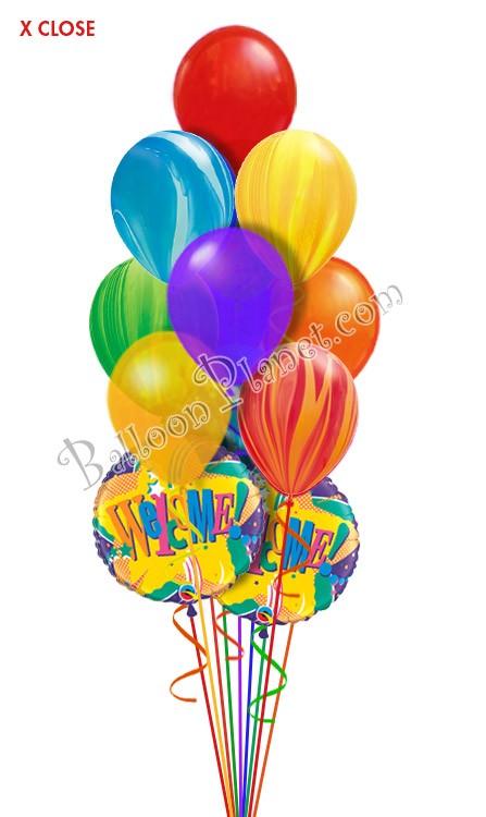 tie dye welcome balloon bouquet  12 balloons