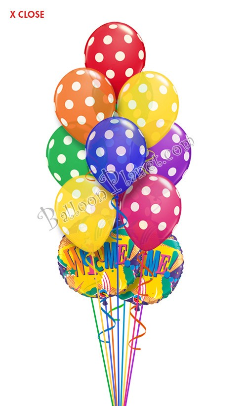 Rainbow Dots Welcome Balloon Bouquet (12 Balloons ...