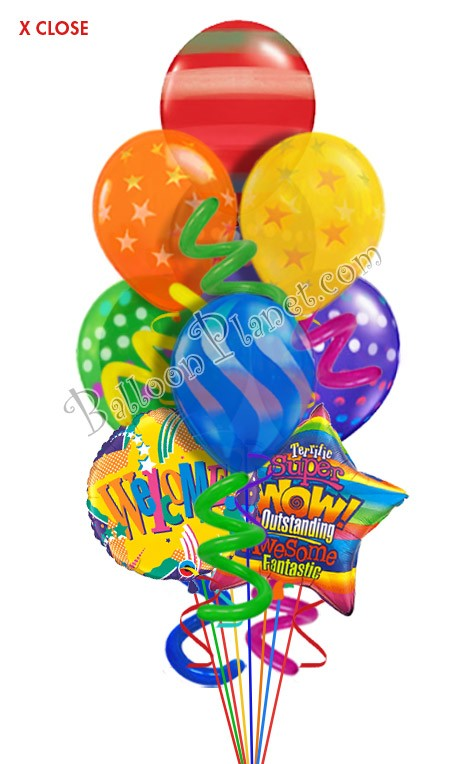 twisty airspray welcome balloon bouquet  9 balloons