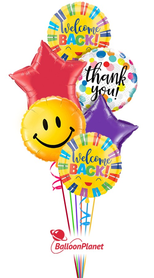big smiles welcome back balloon bouquet  6 balloons