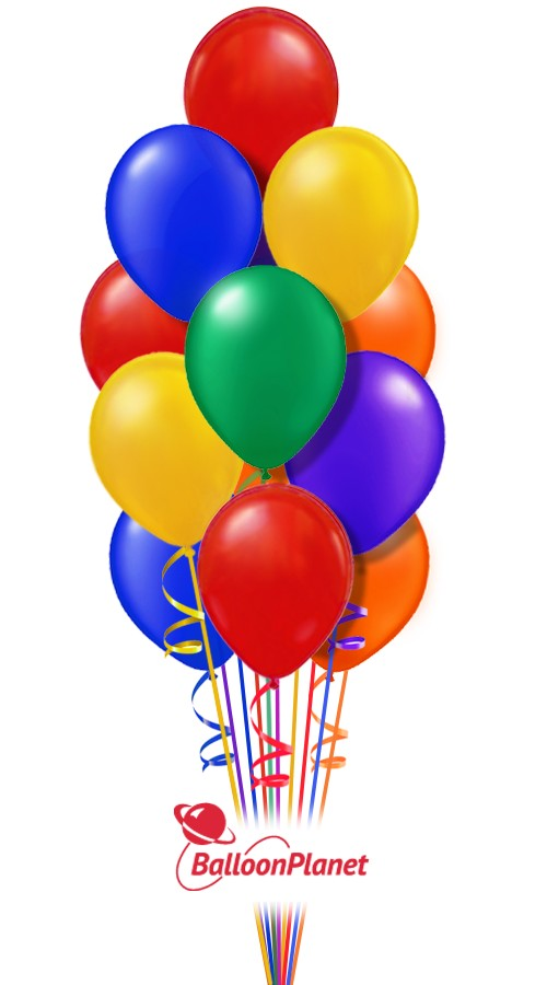 Classic rainbow just for fun balloon bouquet 16 balloons balloon delivery by balloonplanet com