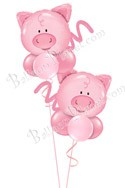 Flying Pigs Just For Fun Balloon Bouquet (2 Pigs) delivered in St Paul