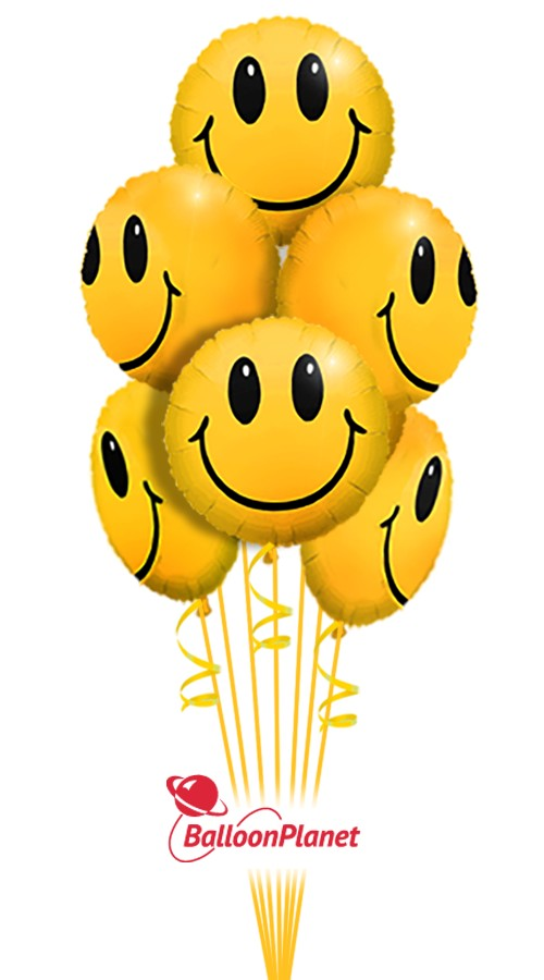Smiling Faces Just For Fun Balloon Bouquet 6 Balloons