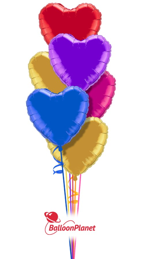 Colorful Hearts Just For Fun Balloon Bouquet 7 Balloons