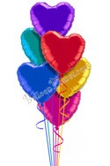 Colorful Hearts Just For Fun Balloon Bouquet (6 Balloons) delivered in Milwaukee