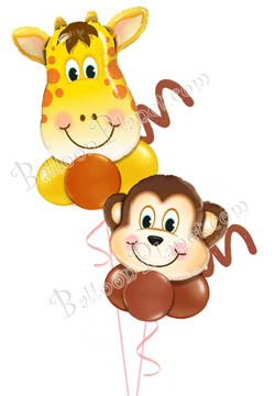 Soaring Safari Just For Fun Balloon Bouquet (2 Pals)