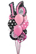 Sweet Sixteen Birthday Balloon Bouquet (12 Balloons) delivered in Pleasant Hill