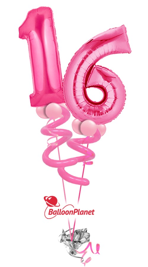 sweet sixteen birthday balloon bouquet 2 megaloon numbers