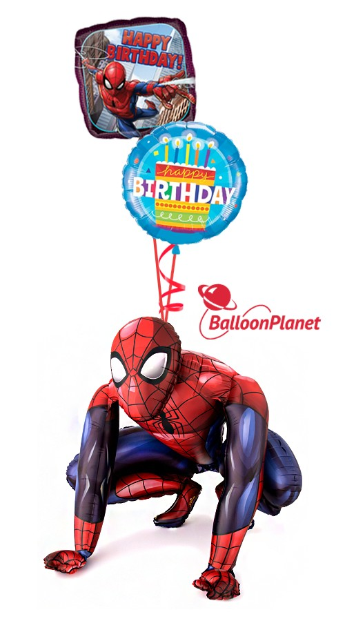 Spiderman Birthday II Airwalker Balloon Bouquet (3 Balloons)