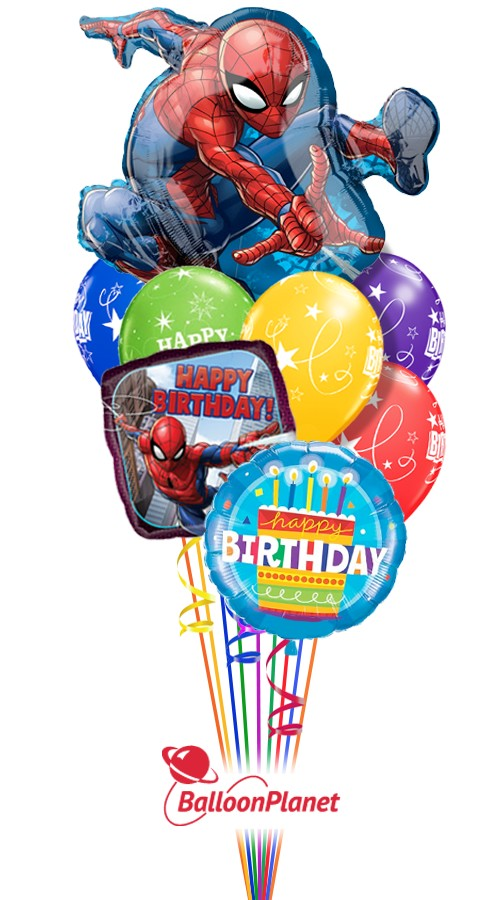 Spiderman Birthday I Super Shape Balloon Bouquet 9 Balloons