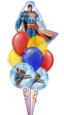 Superman Birthday Super Shape Balloon Bouquet 9 Balloons
