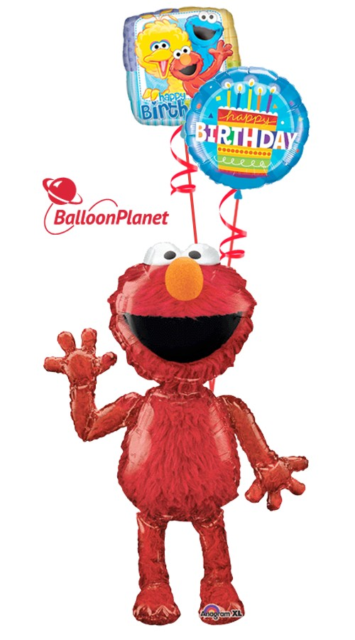 Elmo Birthday I Airwalker Balloon Bouquet 3 Balloons