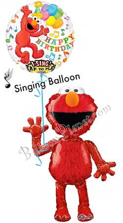 Elmo Birthday II Singing Airwalker Balloon Bouquet