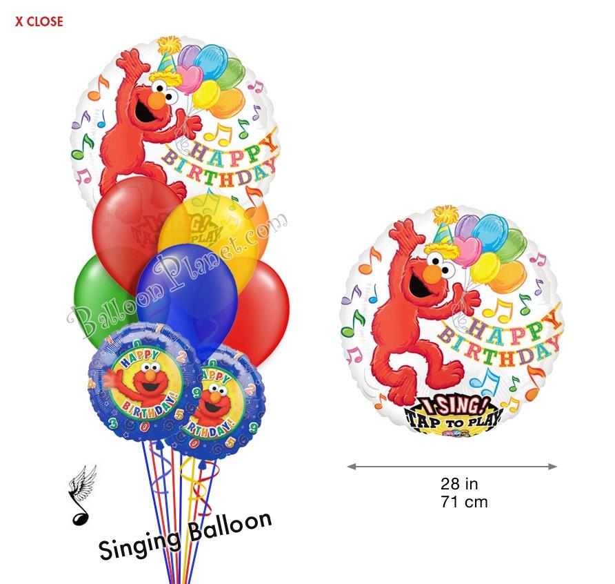 Elmo Birthday IV Singing Balloon Bouquet (9 Balloons