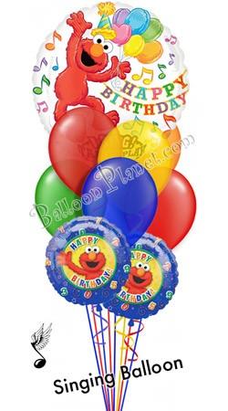Elmo Birthday IV Singing Balloon Bouquet 9 Balloons