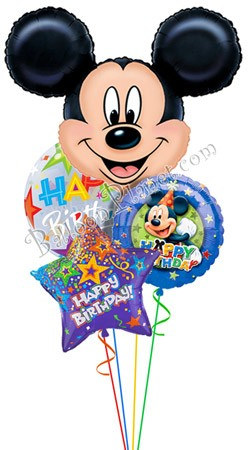 Mickey Birthday IV Jumbo Head Balloon Bouquet