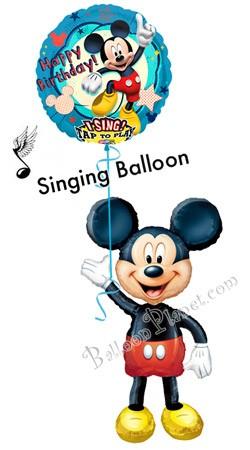 Mickey Birthday VI Airwalker Singing Balloon Bouquet