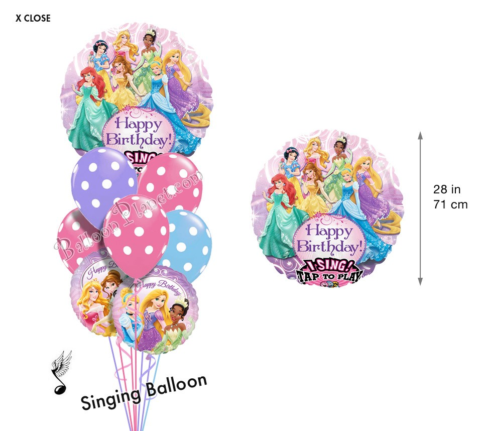 Balloon bouquet delivery balloon decorating 866 340 - Princess Birthday I Singing Balloon Bouquet 9 Balloons