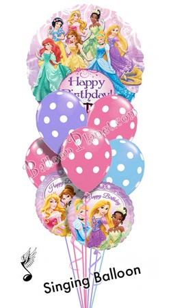Princess Birthday I Singing Balloon Bouquet 9 Balloons