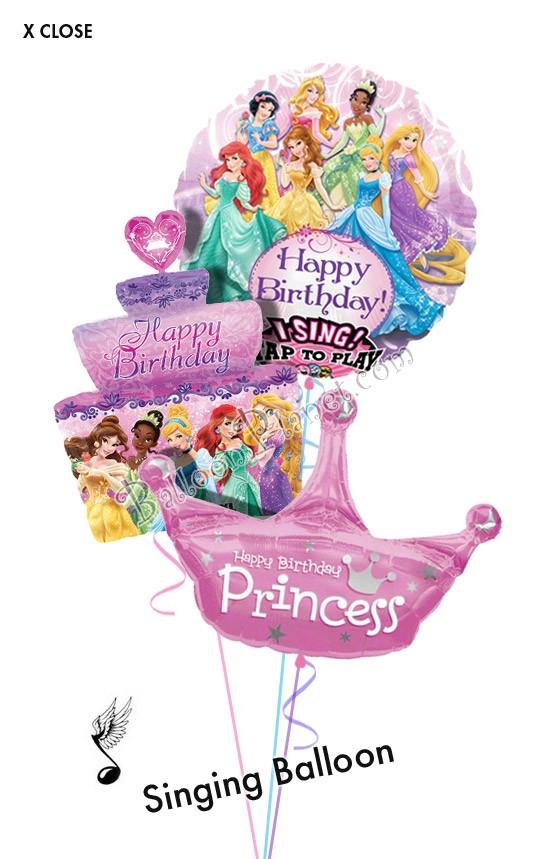Princess Birthday Vi Singingcakecrown Balloon Bouquet 3 Balloons
