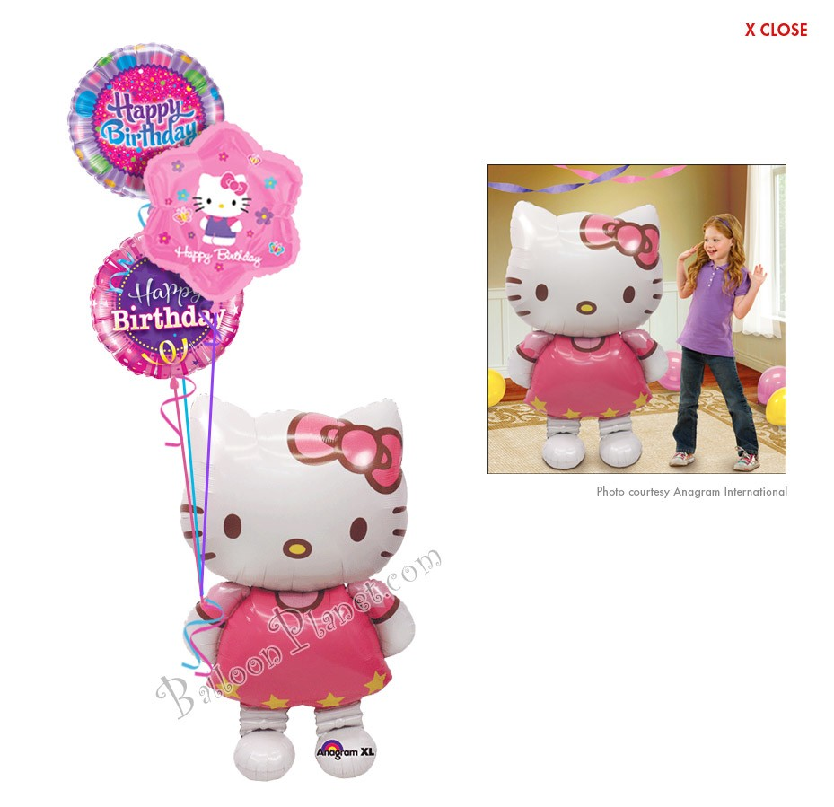 Hello Kitty Birthday Ii Airwalker Balloon Bouquet 4