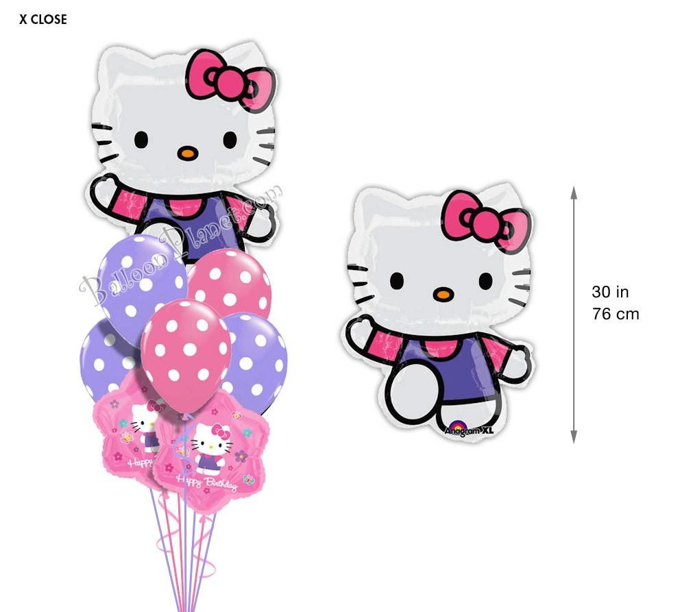 Balloon bouquet delivery balloon decorating 866 340 - Hello Kitty Birthday I Super Shape Balloon Bouquet 9 Balloons