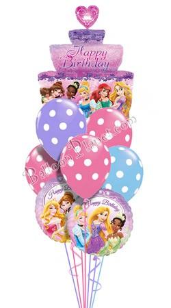 Princess Birthday III Tiered Cake Balloon Bouquet
