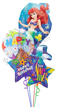 Princess Birthday X Little Mermaid Balloon Bouquet 4 Balloons