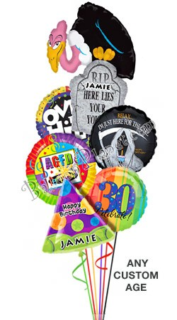 Custom Name & Age  Buzzard Birthday Balloon Bouquet (6 Balloons)